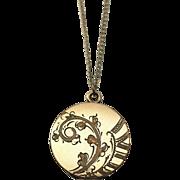 Floral Locket Vintage Pendant Necklace Gold Filled