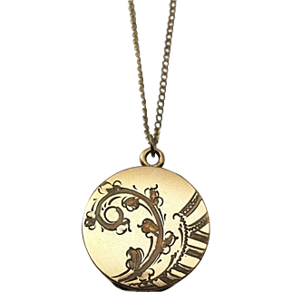 Floral Locket Vintage Pendant Necklace Gold Filled