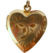 Vintage Heart Locket Charm Pendant Gold Filled