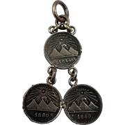 Vintage Coin Real Pendant 1880s Guatemala 835 Silver