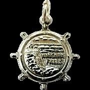 Niagara Falls Ships Wheel Travel Charm Vintage Sterling Silver