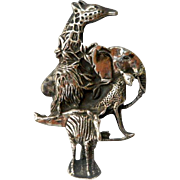 Vintage Sterling Wild Animal Brooch Pin Elephant Lion