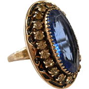 Deco Sterling Cocktail Ring Blue Glass Rhinestones Adjustable