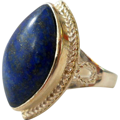 vintage sterling silver lapis lazuli ring size 7 from