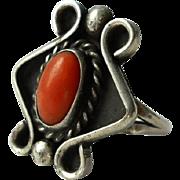 Vintage Coral Sterling Ring Southwestern Silver