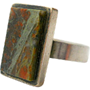 Magnus Maximus Agate Modernist Ring Sterling English
