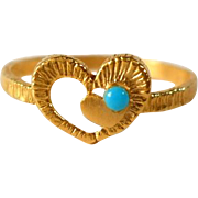 Vintage Heart Pinkie Ring Faux Turquoise Gold Filled
