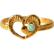 Vintage Heart Promise Ring Faux Opal Gold Filled