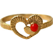 Vintage Heart Ring Faux Coral Gold Filled Size 6