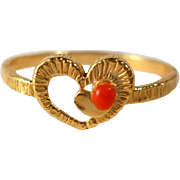 Vintage Heart Promise Ring Faux Coral Gold Filled