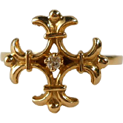 Fleur de Lis Cross Ring Gold Diamond Vintage