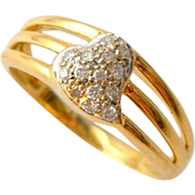 Vintage 18K Gold Diamond Ring Witchs Heart Size 8