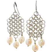Vintage Sterling Wedding Earrings Freshwater Pearls Chain Mail