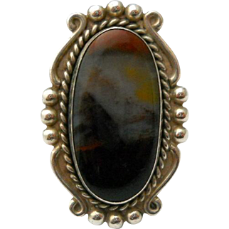 Vintage Scenic Agate Sterling Silver Ring Size 7