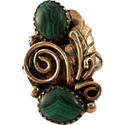 Malachite Sterling Silver Feather Ring Navajo Size 7 Vintage