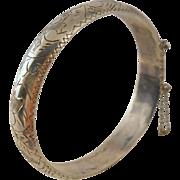 Vintage Sterling Silver Clamper Bracelet Thai Etched