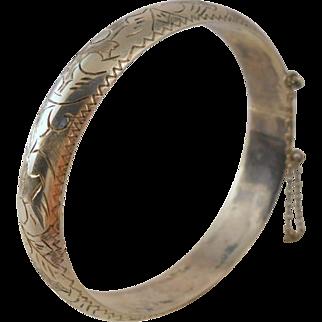 Vintage Sterling Clamper Bracelet Thai Silver Etched