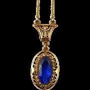Art Deco Pendant Choker Necklace Blue Rhinestone Wedding Necklace