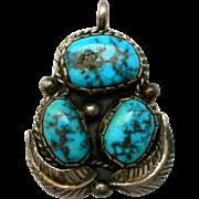 Vintage Triple Turquoise Sterling Pendant Southwestern Silver