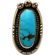 Vintage Turquoise Sterling Southwestern Silver Ring Size 6