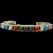 Vintage Zuni Gemstone Sterling Cuff Bracelet Walela