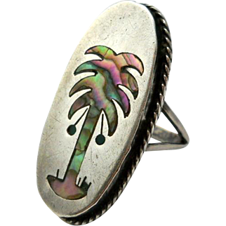 Vintage Palm Tree Abalone Inlay Ring Mexico Silver Size 8