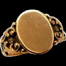 Antique 14K Rose Gold Signet Ring Victorian Blank Plaque