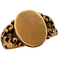 Antique 14K Rose Gold Signet Ring Victorian Blank Plaque