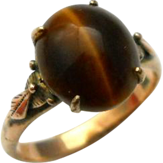 Vintage 14K Tigers Eye Ring Yellow Gold Size 8