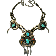 Vintage Turquoise Bear Claw Sterling Necklace Navajo Pearls