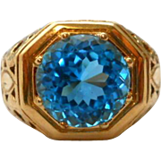 Vintage Blue Topaz 14K Gold Ring Cocktail Statement Size 6