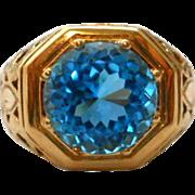 Vintage Blue Topaz 14K Gold Ring Cocktail Statement