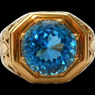 Vintage Blue Topaz 14K Gold Ring Cocktail Statement Size 6