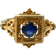 Vintage Sapphire 14K Yellow Gold Ring Size 7