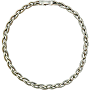 Bigney Sterling Triple Woven Choker Necklace Vintage 1940s Silver