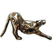 Vintage Leopard Sterling Silver Brooch Pin Champagne Rhinestones