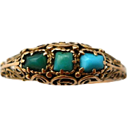 Antique 14K Gold Turquoise Ring Victorian