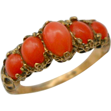 Antique 15ct Gold Coral Ring Victorian