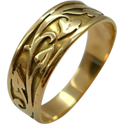 Antique 14K Gold Ivy Wedding Ring Band Art Nouveau Size 9