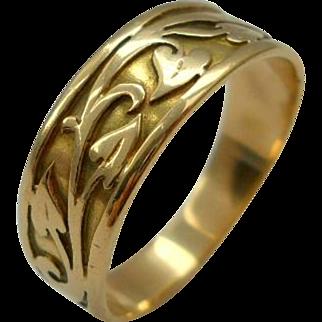 Antique 14K Gold Ivy Wedding Band Ring Art Nouveau Size 9