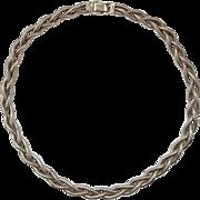 Bigney Sterling Silver Choker Necklace Vintage Triple Weave