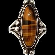Vintage Tigers Eye Sterling Silver Ring Southwestern Style