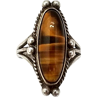 Vintage Tigers Eye Sterling Silver Ring Southwestern Style