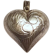 Puffy Heart Pendant Sterling Silver Vintage