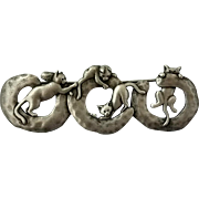 JJ Four Cats Climbing Pewter Brooch Pin Figural