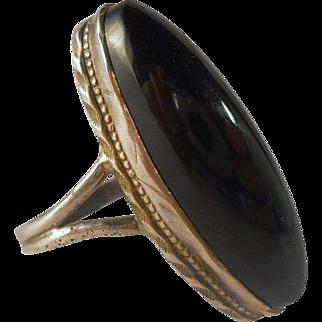 Black Onyx Sterling Silver Ring Vintage Native American