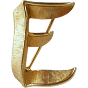 Crown Trifari Letter E Initial Brooch Vintage Pin