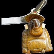 Vintage Tigers Eye Carved Buddha Pendant Charm