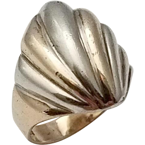 Vintage Seashell Sterling Silver Ring Mermaid Size 9