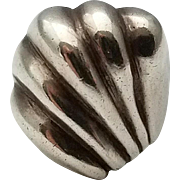 Vintage Seashell Wave Sterling Silver Ring Size 8 Beach Ocean